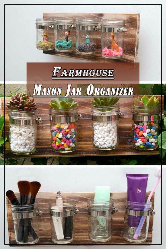 Farmhoue Mason Jar Organizer #farmhouse #masonjar #farmhousedecor #storage #organization #farmhousestorage #decorhomeideas