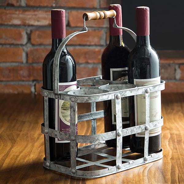 Rustic farmhouse 6 bottle wine carrier #farmhouse #winecarrier #wineholder #farmhousedecor #storage #organization #farmhousestorage #decorhomeideas