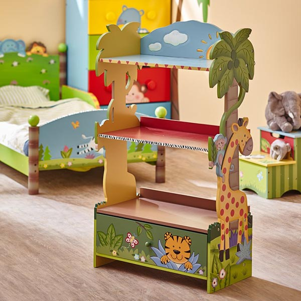 Sunny safari bookshelf and toys organizer #toystorage #bookcase #organizer #decorhomeideas