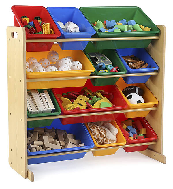 Toy storage organizer with bins #toystorage #organizer #playroom #kidsroom #storage #decorhomeideas