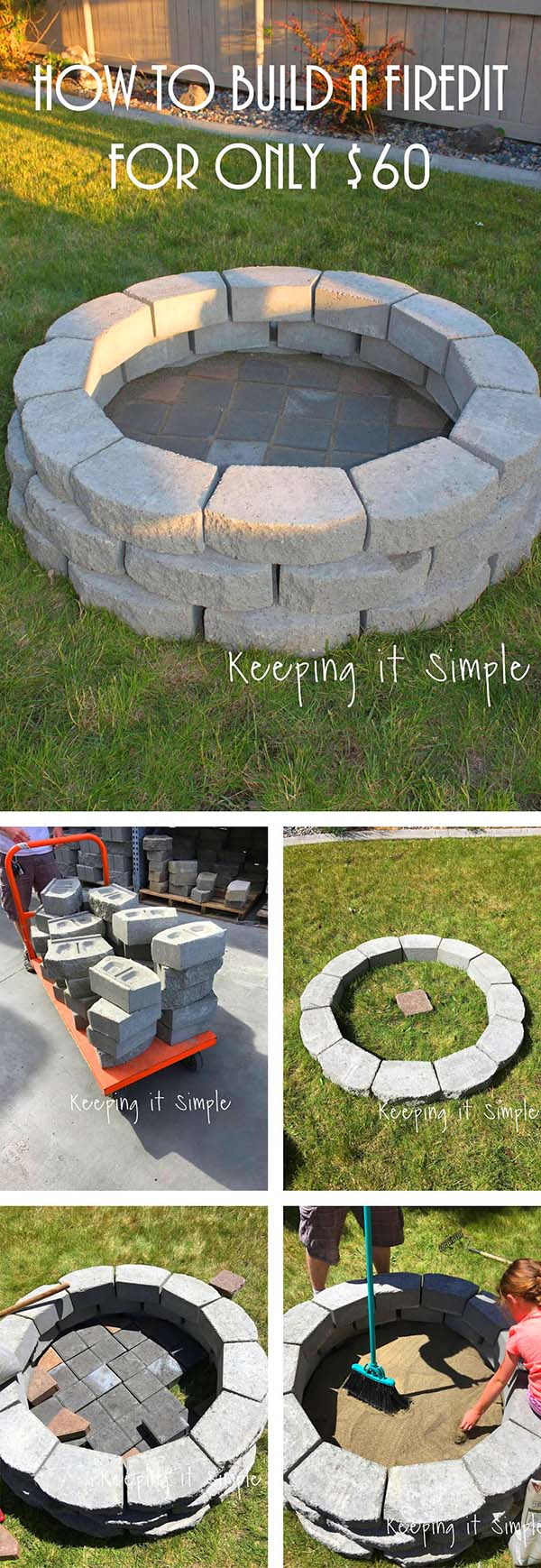 Cheap and Simple Fire Pit Idea Under $60 #firepit #firepitideas #diy #garden #decorhomeideas