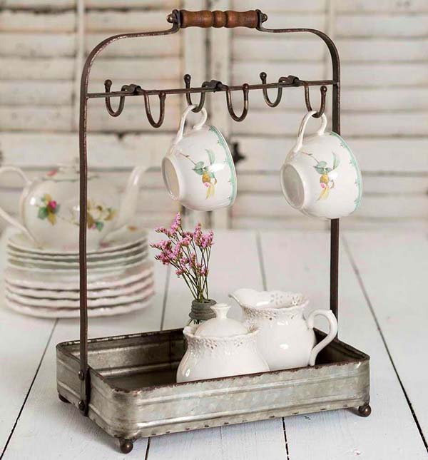 Farmhouse decor tabletop mug rack tea display #farmhouse #farmhousedecor #storage #organization #farmhousestorage #decorhomeideas