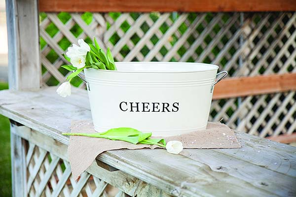 Farmhouse cheers drink metal tub #farmhouse #farmhousedecor #storage #organization #farmhousestorage #decorhomeideas