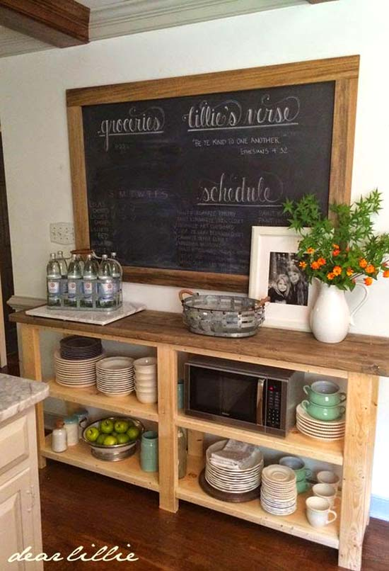 Farmhouse storage with chalk board #farmhouse #farmhousedecor #storage #organization #farmhousestorage #decorhomeideas