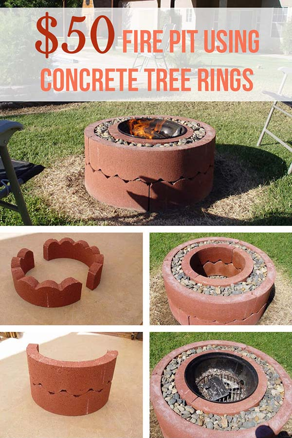 DIY fire pit made of tree concrete rings #firepit #firepitideas #diy #garden #decorhomeideas