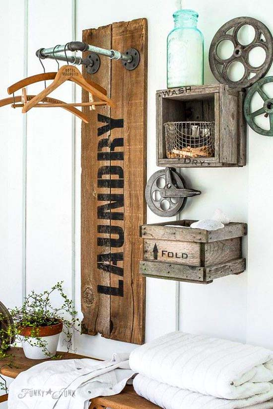 Laundry stencil and old wooden crates farmhouse decor #countrybathroom #countrydecor #bathroom #farmhouse #decorhomeideas