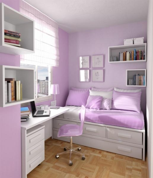 Small Lavender Teenage Girl Bedroom #teengirlbedroom #girlbedroom #teenbedroom #bedroom #homedecor #decorhomeideas