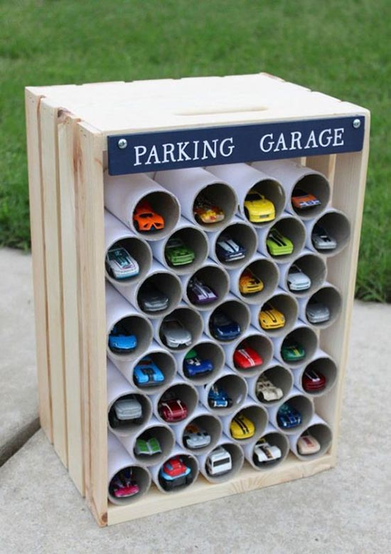 DIY Car Parking toy storage #toystorage #storage #carparking #decorhomeideas