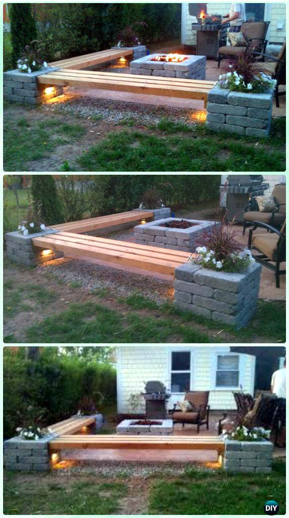 Square Propane Fire Pit With Bench and Patio Area #firepit #firepitideas #diy #garden #decorhomeideas