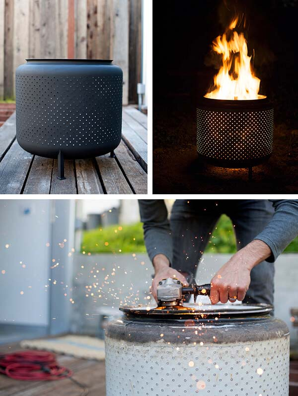 DIY Repurposed Washing Machine Drum Fire Pit #firepit #firepitideas #diy #garden #decorhomeideas