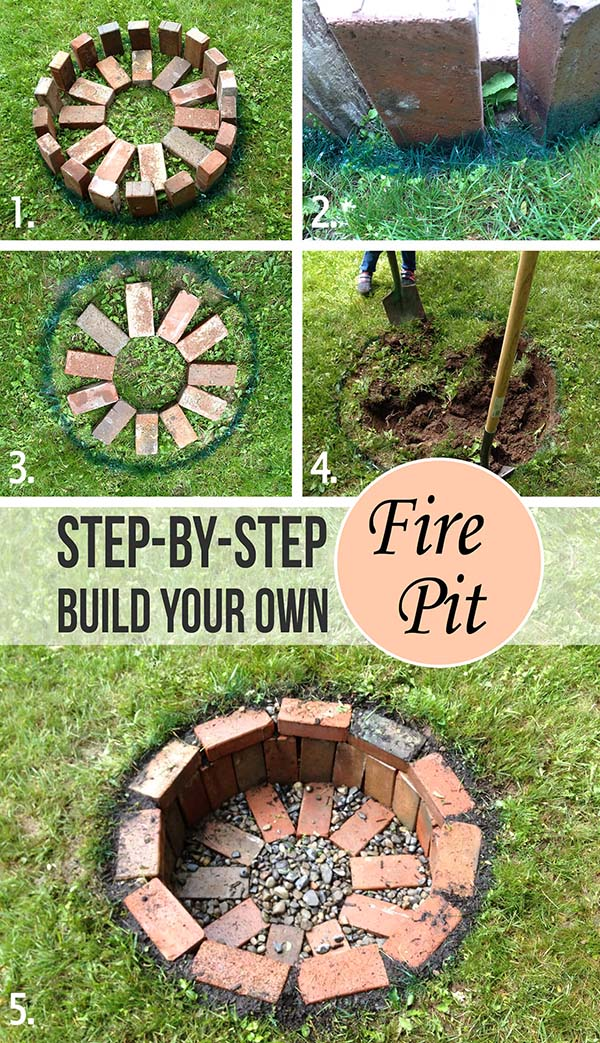 Easy DIY Round Brick In-Ground Fire Pit Tutorial #firepit #firepitideas #diy #garden #decorhomeideas