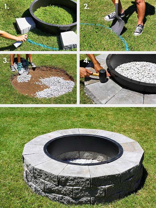 Easy DIY Round Camping Fire Pit Made Of Concrete Blocks #firepit #firepitideas #diy #garden #decorhomeideas