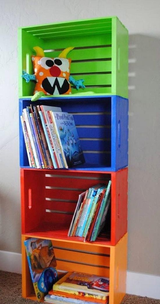 DIY Toys and books organizer made from carts #toystorage #organizer #cartstorage #diy #decorhomeideas