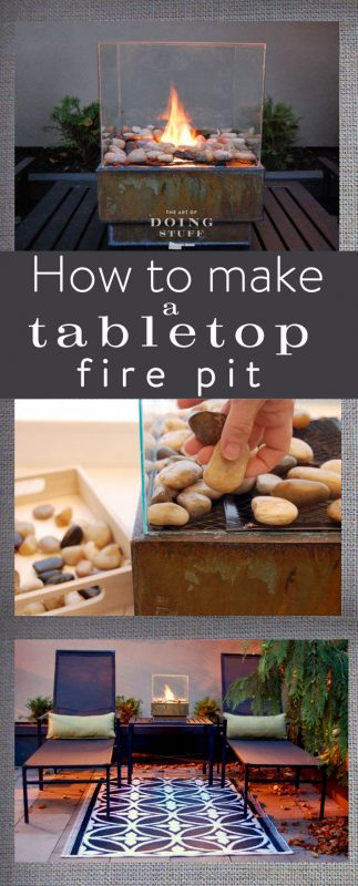 Tabletop Mini Gas Fire Pit With Pebbles and Glass Cover #firepit #firepitideas #diy #garden #decorhomeideas