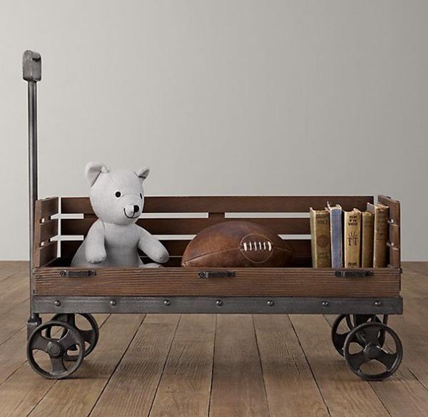 DIY Wooden wagon for storing toys and books #toystorage #organizer #woodenwagon #decorhomeideas