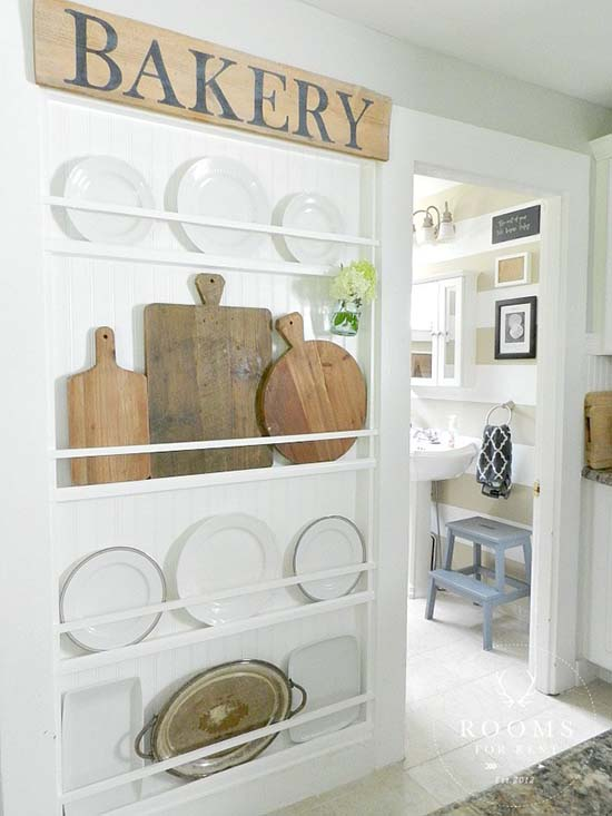 Wall to plate rack #farmhouse #rack #farmhousedecor #storage #organization #farmhousestorage #decorhomeideas