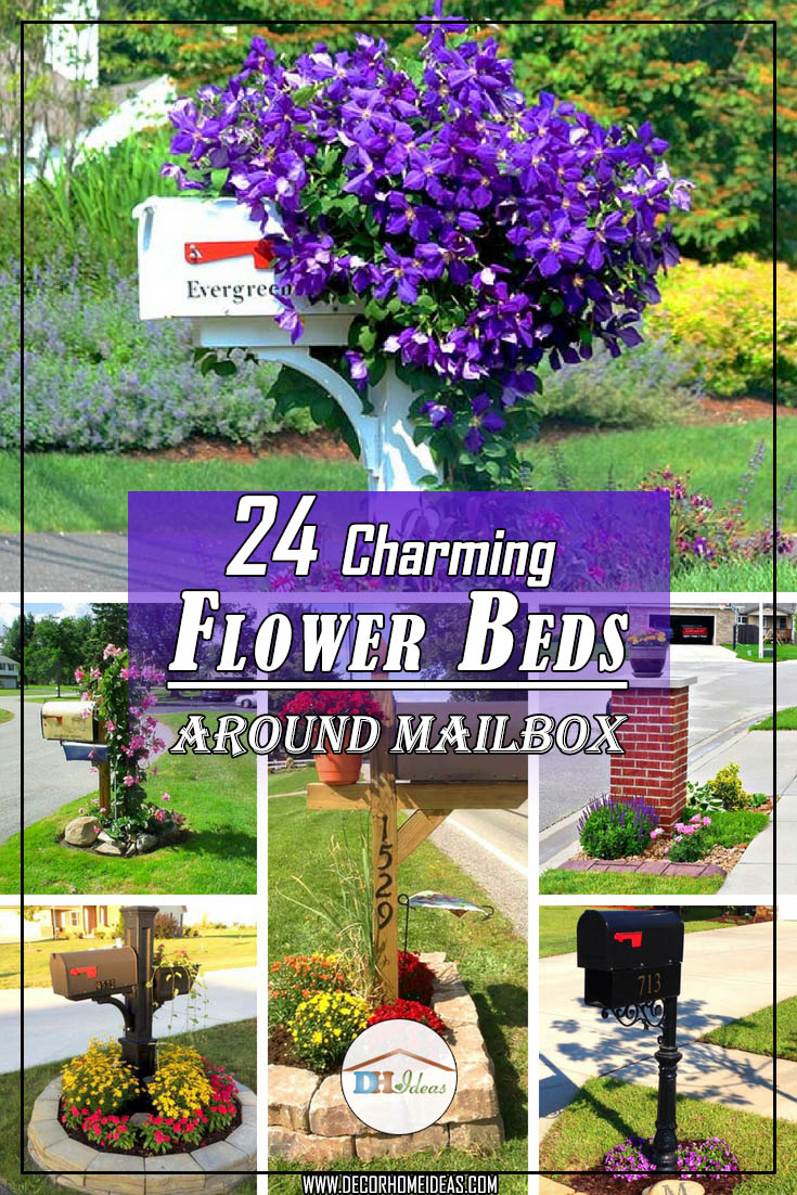 24 Charming Flower Beds Around Mailbo Flowerbed Mailbox Garden Curbeal Flowers