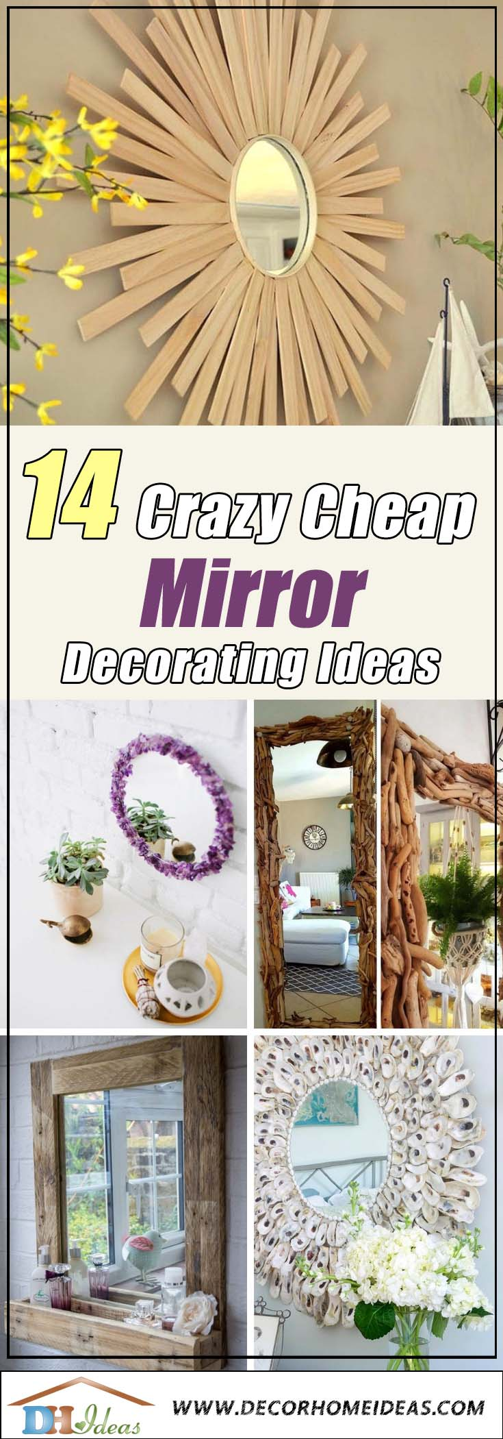 14 Crazy Cheap Mirror Decorating Ideas #diy #mirror #diymirror #cheapmirror #decorhomeideas