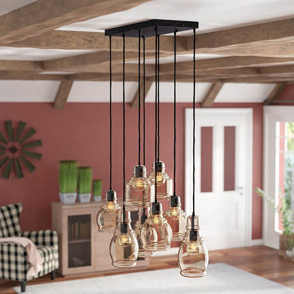Cognac Glass 8 light farmhouse pendant #farmhousependant #farmhouse #pendant #farmhhousedecor #decorhomeideas