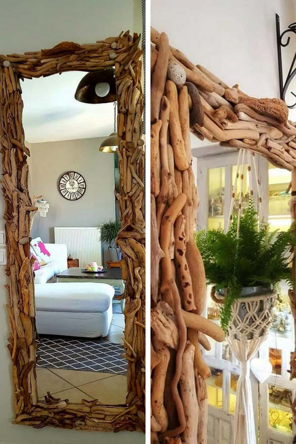 DIY mirror with sea sticks