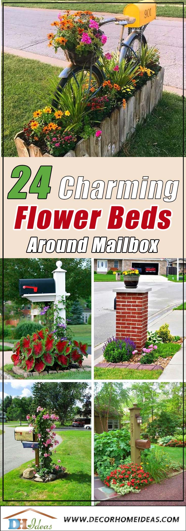 24 Charming Flower Beds Around Mailboxes #flowerbed #mailbox #garden #curbappeal #flowers #decorhomeideas