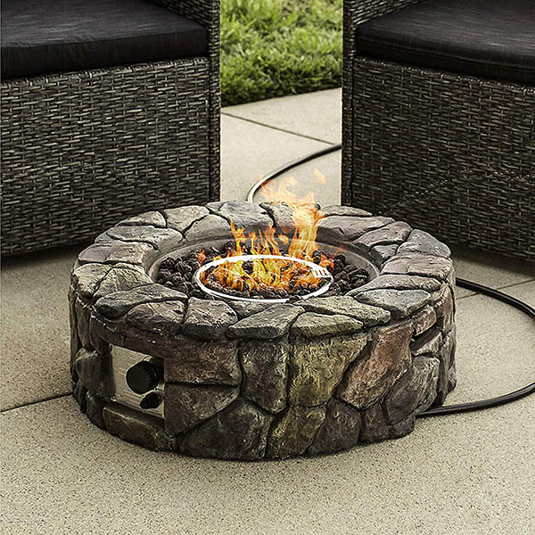 Natural stone gas fire pit #firepit #gasfirepit #propanefirepit #firepitdesign #decorhomeideas