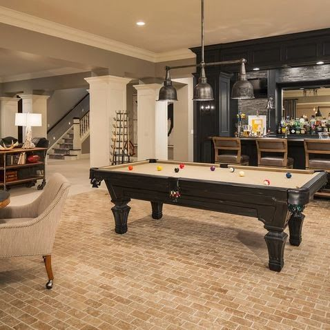 Basement with pool table #basement #basementremodel #basementideas #basementdecor #homedecor #decorhomeideas