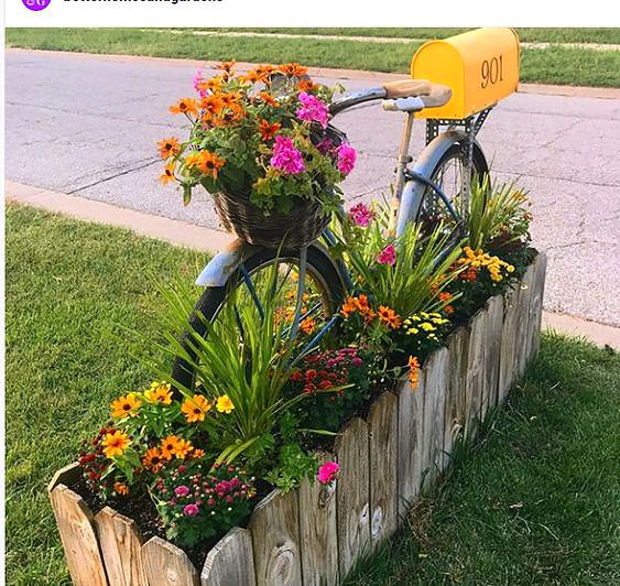 Bicycle mailbox flower bed idea #flowerbed #mailbox #garden #curbappeal #flowers #decorhomeideas