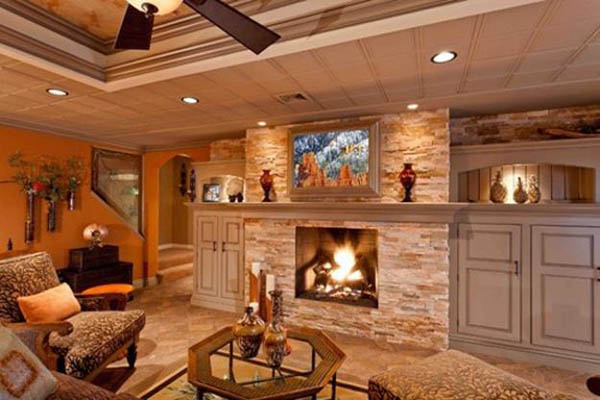 Big fireplace basement decor #basement #basementremodel #basementideas #basementdecor #homedecor #decorhomeideas