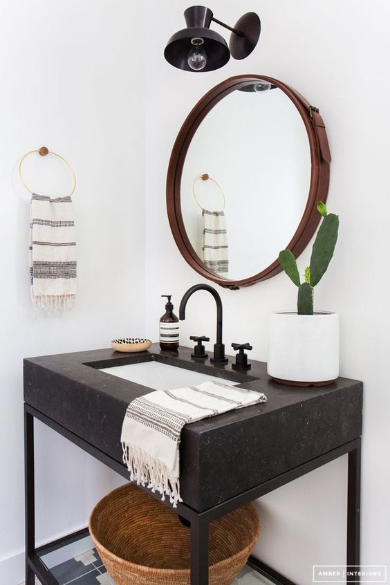 Black vanity with mirror #vanity #bathroomvanity #vanityideas #bathroom #bathroomideas #storage #organization #decorhomeideas