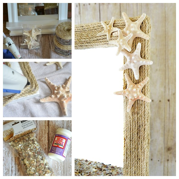 Coastal rope seashell cheap mirror idea #diy #mirror #diymirror #cheapmirror #decorhomeideas