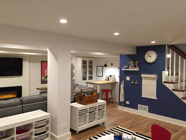 Navy color basement #basement #basementremodel #basementideas #basementdecor #homedecor #decorhomeideas