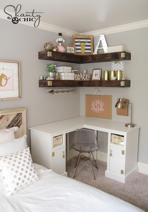 Diy floating shelves teenage girl bedroom #teengirlbedroom #girlbedroom #teenbedroom #bedroom #homedecor #decorhomeideas