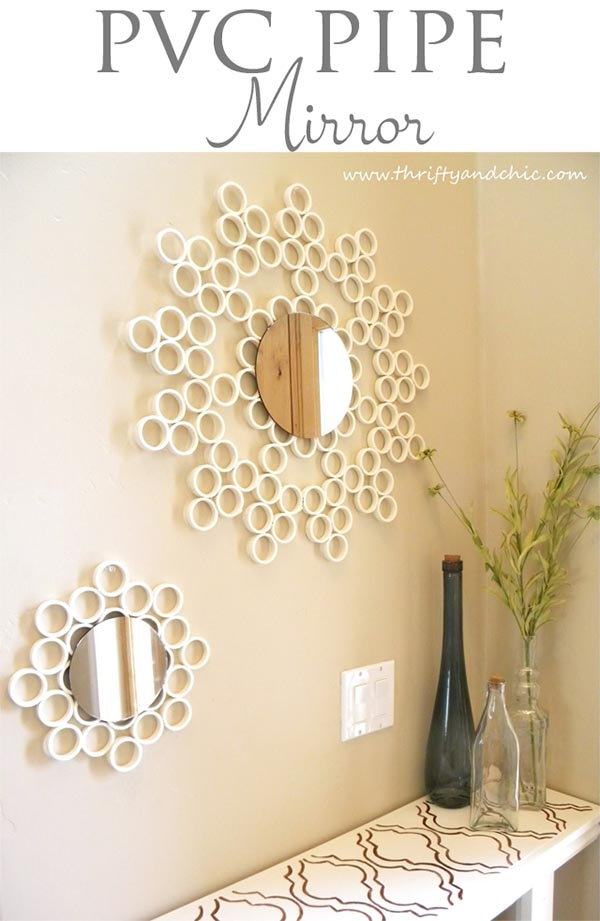 DIY Cheap PVC pipe mirror #diy #mirror #diymirror #cheapmirror #decorhomeideas