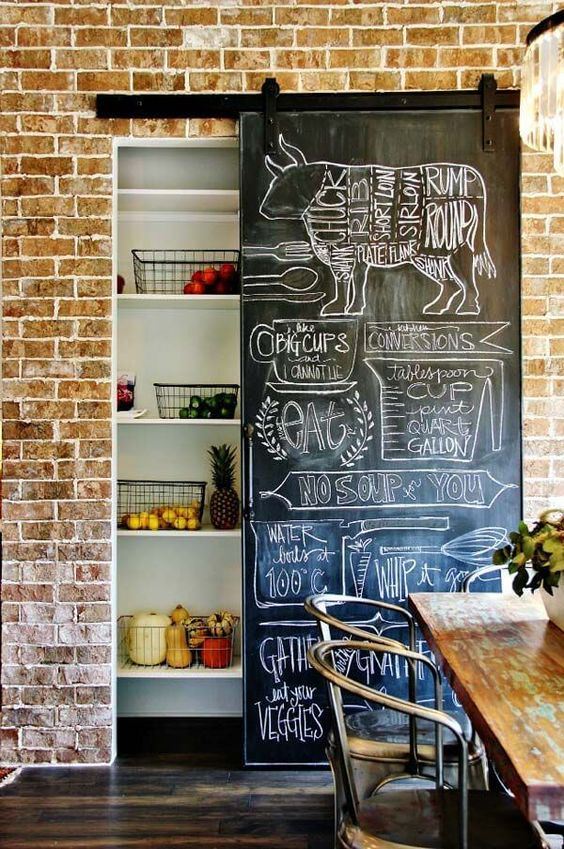 Farmhouse kitchen chalkboard wall decor #farmhousekitchen #farmhouse #farmhousedecor #kitchen #homedecor #decorhomeideas
