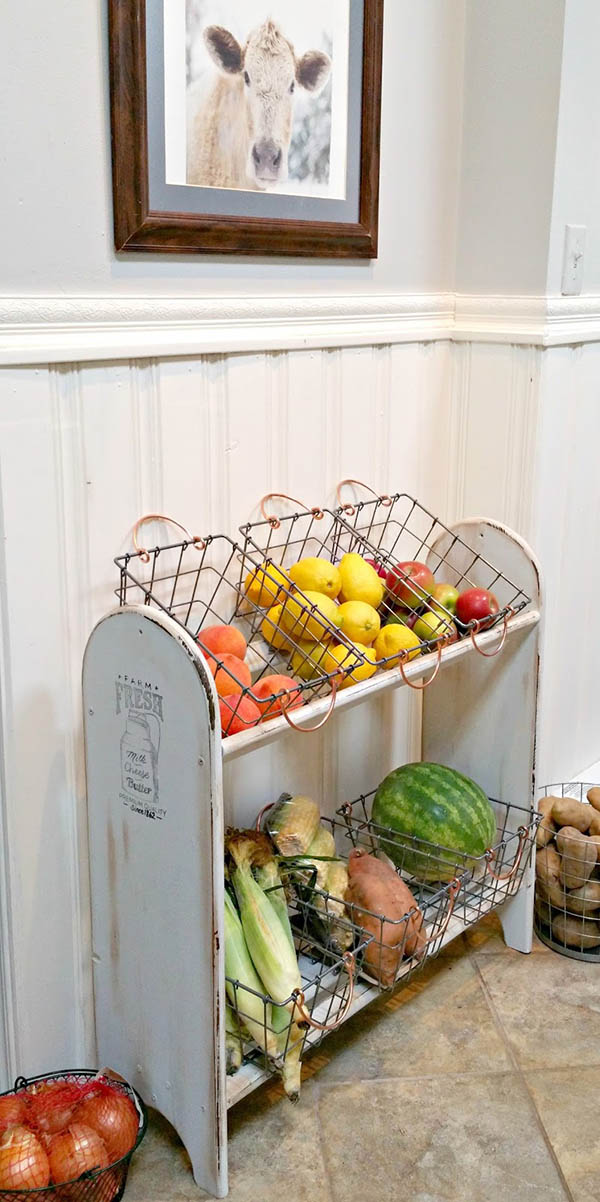 Farmhouse kitchen decor vegetable bin #farmhousekitchen #farmhouse #farmhousedecor #kitchen #homedecor #decorhomeideas
