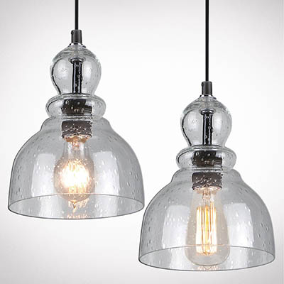 Farmhouse mini pendant lights with seeded glass #farmhousependant #farmhouse #pendant #farmhhousedecor #decorhomeideas