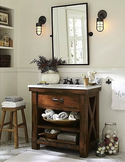 Farmhouse small bathroom vanity #vanity #bathroomvanity #vanityideas #bathroom #bathroomideas #storage #organization #decorhomeideas