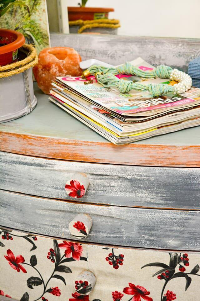 Floral fabric chalk painted cabinet