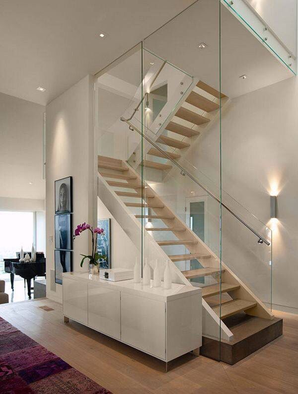 Glass railing staircase #staircase #stairway #stairs #staircaseideas #decorhomeideas