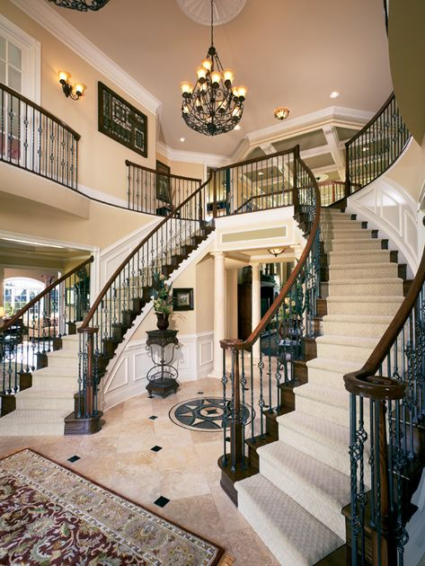 Grand foyer staircases #staircase #stairway #stairs #staircaseideas #decorhomeideas