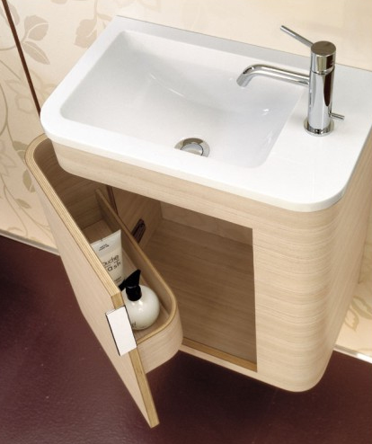 Hidden storage vanity for small bathroom #vanity #bathroomvanity #vanityideas #bathroom #bathroomideas #storage #organization #decorhomeideas