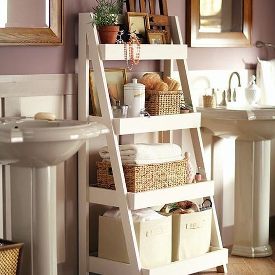 Ladder vanity small bathroom ideas #vanity #bathroomvanity #vanityideas #bathroom #bathroomideas #storage #organization #decorhomeideas