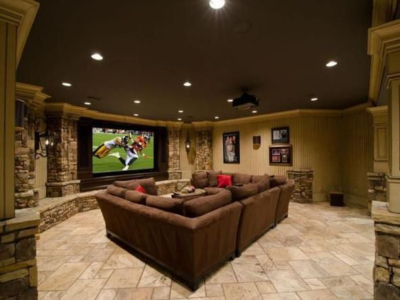 Luxury basement tv area #basement #basementremodel #basementideas #basementdecor #homedecor #decorhomeideas