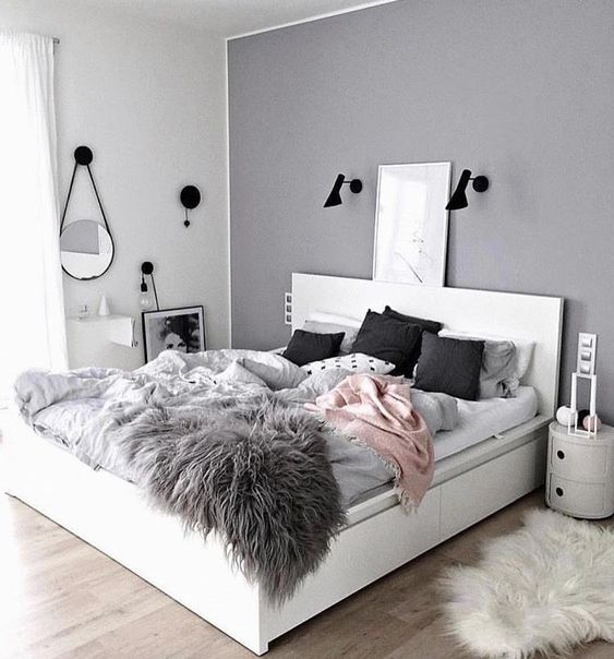 Modern gray teenage bedroom #teengirlbedroom #girlbedroom #teenbedroom #bedroom #homedecor #decorhomeideas