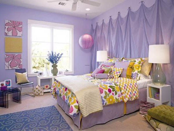 Purple Age Room Designs With Fl Elements