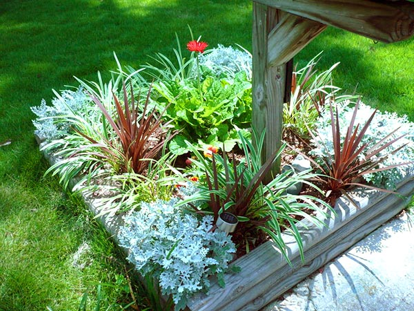 Perennial flower bed around mailbox #flowerbed #mailbox #garden #curbappeal #flowers #decorhomeideas