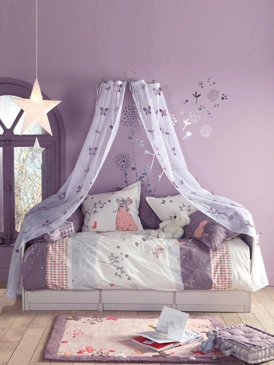 Purple teenage girl bedroom with canopy #purplebedroom #teenbedroom #girlbedroom #bedroom #homedecor #decorhomeideas