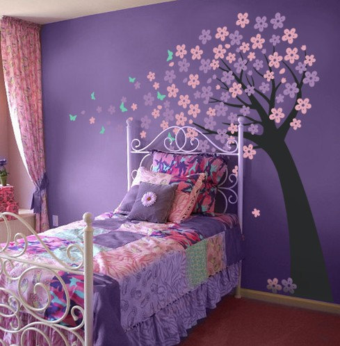 Purple bedroom with stencil #purplebedroom #teenbedroom #girlbedroom #bedroom #homedecor #decorhomeideas