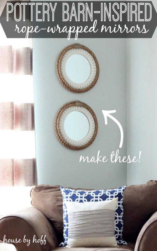 Rope Wrapped Cheap Mirror Decorating Ideas #diy #mirror #diymirror #cheapmirror #decorhomeideas